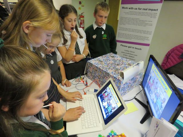 KS2 children queuing up to play The Cyberbully Challenge!